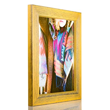 Craig Frames Gesso, Yellow Plain Wooden Picture Frame, 8 by 10-Inch