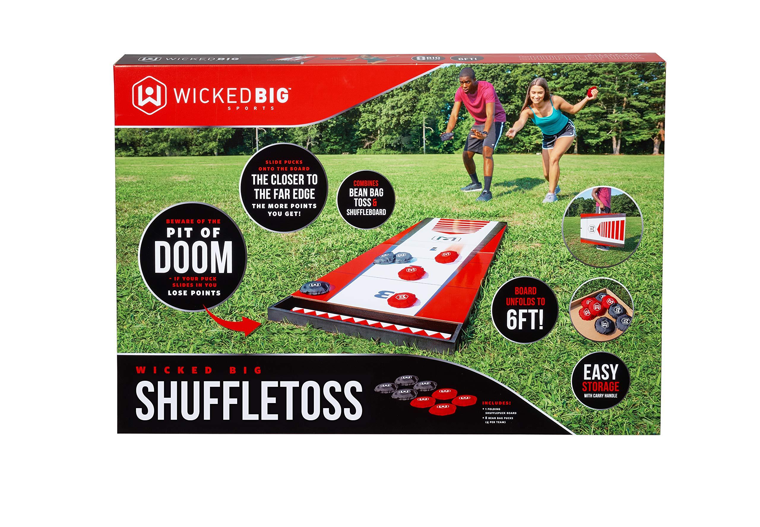 Wicked Big Sports Shuffle Toss-Supersized Game Combining Shuffle Board & Corn Hole Portable Outdoor Sport Tailgate Backyard Beach Game, Red