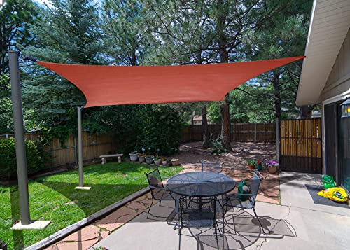 SUNLAX 8 x 12 Rectangle Sun Shade Sail Terra Color UV Resistant for Outdoor Patio Lawn Garden Activities