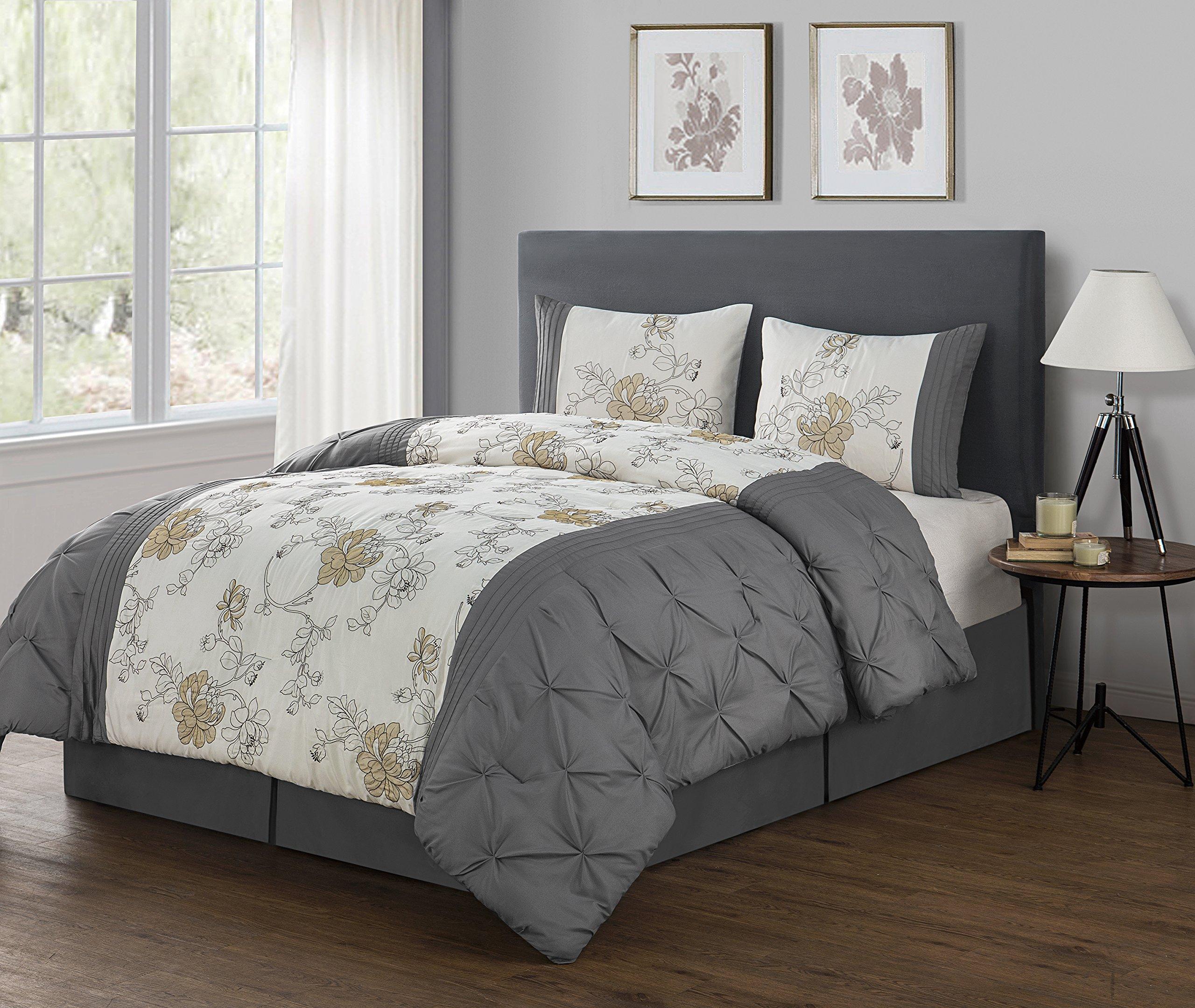 VCNY Home King Size Comforter Set in Grey Elegant Floral 4 Pc Set w/2 Shams, Bedskirt