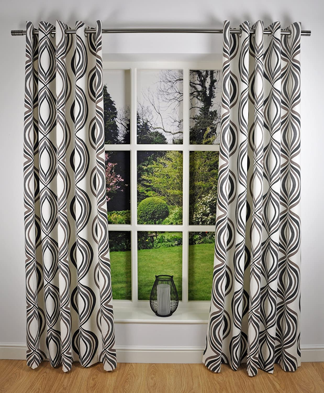 Retro Modern Geometric Print Readymade Lined Eyelet Curtains Chocolate Brown Cream