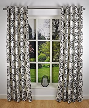 Green Curtains brown cream and green curtains : Retro Modern Geometric Print Readymade Lined Eyelet Curtains ...