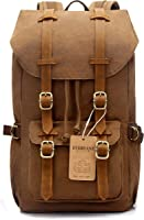 "EverVanz Outdoor Canvas Leather Backpack, Travel Hiking Camping Rucksack Pack, Large Casual Daypack, College School Backpack, Shoulder Bags Fits 15"" Laptop Tablets"