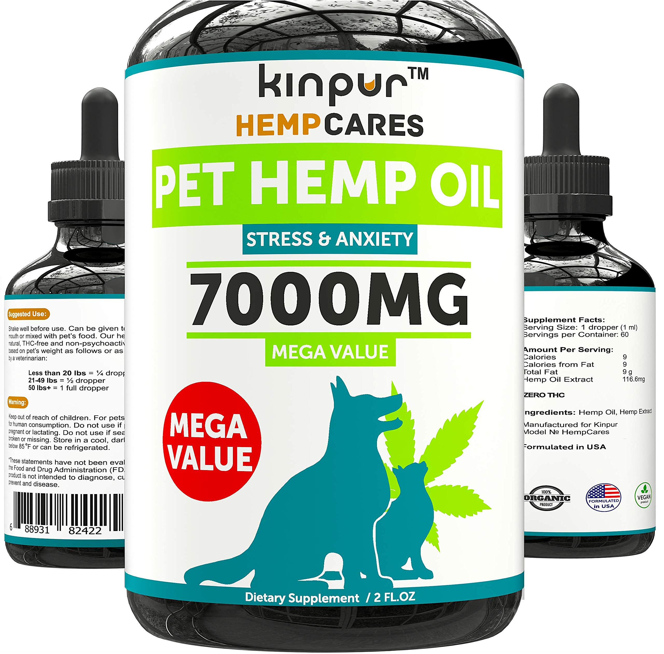 Hemp Oil for Dogs & Cats - 7000mg - Anxiety Relief for Dogs & Cats - Pet Hemp Oil - Supports Hip & Joint Health - Grown & Made in USA - Natural Relief for Pain - Omega 3, 6 & 9 by Kinpur
