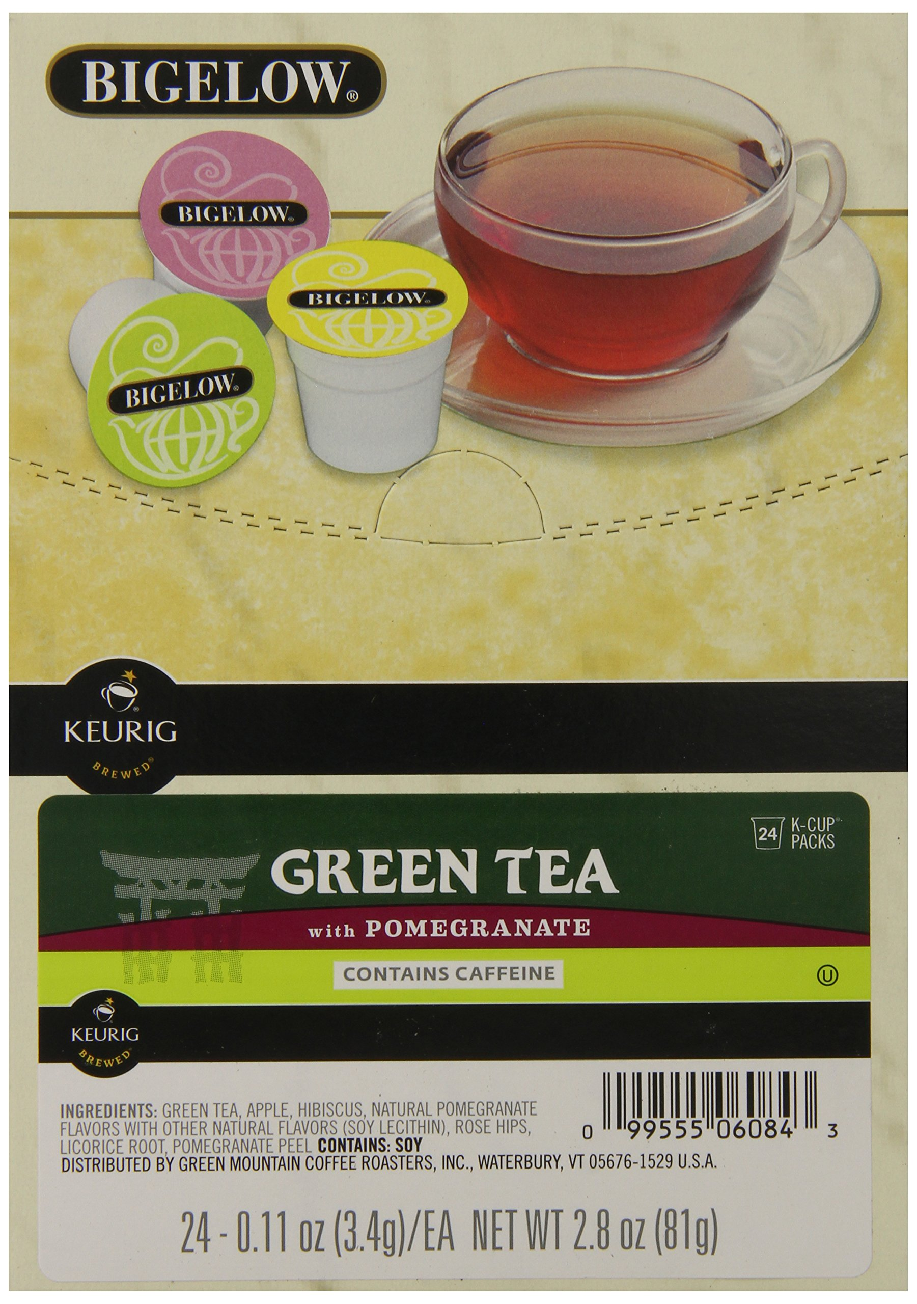 Bigelow Green Tea with Pomegranate, K-Cup Portion Pack for Keurig Brewers, 24-Count by Bigelow Tea