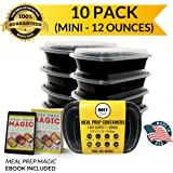 Bolt Goods MINI SMALL Plastic Meal Prep Containers (10 Pack 12 Ounce) Durable Food Storage Bento Box Lunch Bowl Leak Proof Airtight Lids Portion Control 21 Day Fix BPA Free USA Made Reusable Washable