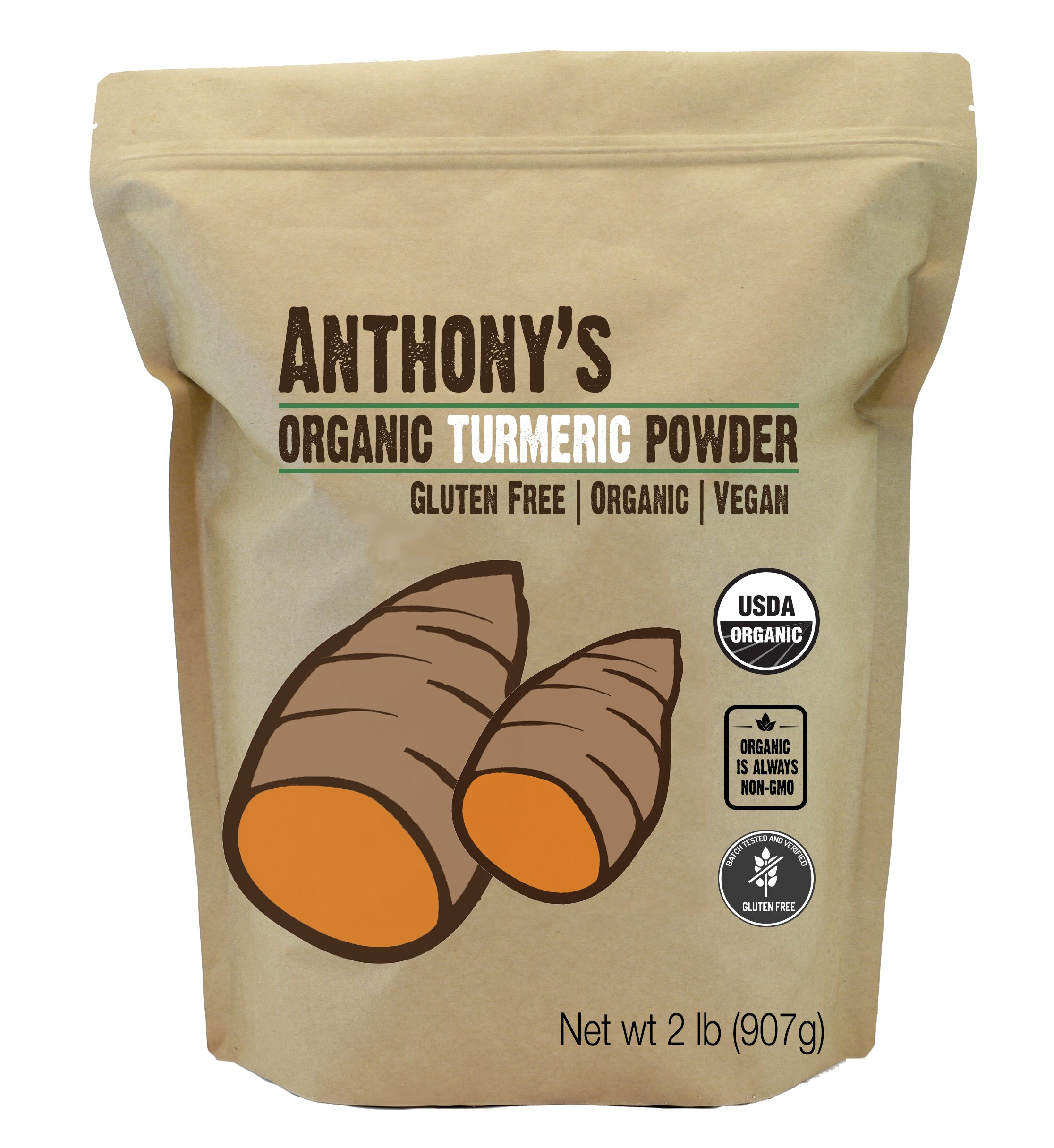 Organic Turmeric Root Powder (2lb) by Anthony's, Curcumin & Non-GMO (32 ounces)