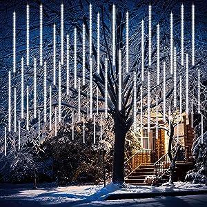 Meteor Shower Lights, ZALALOVA Falling Rain Lights 19.7 inch 14 Tube 672 LED Christmas Outdoor Lights Icicle String Lights Rain Drop Lights for Xmas Party Garden Christmas Thanksgiving Decor (White)