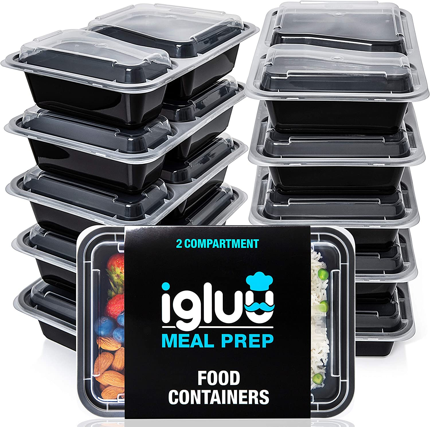 Igluu Meal Prep Containers [10 Pack] 2 Compartment with Airtight Lids - Plastic Food Storage Bento Box - BPA Free - Reusable Lunch Boxes - Microwavable, Freezer and Dishwasher Safe - Bonus eBook