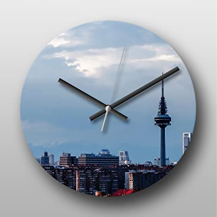 Reloj de pared Madrid España Skyline - grande impreso Circular reloj de cuarzo, Non headphonemate