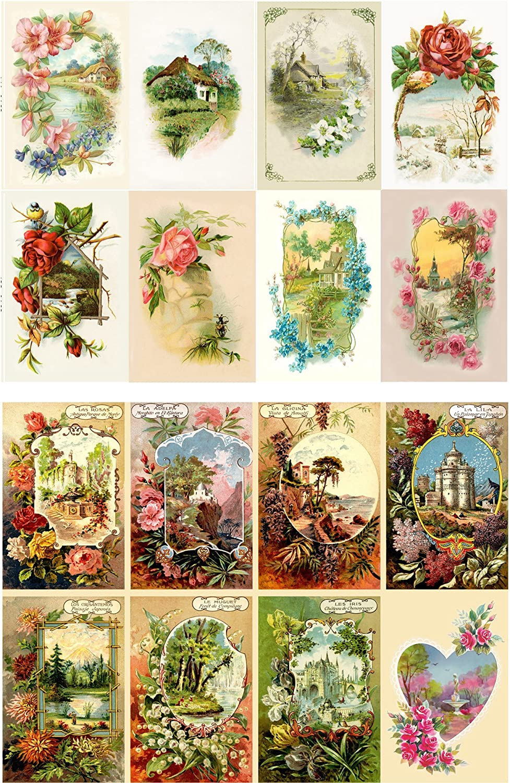 "Decoupage Paper Pack (10sheets A4 / 8""x12"") Spring Landscapes Garden Wildflowers FLONZ Vintage Ephemera"
