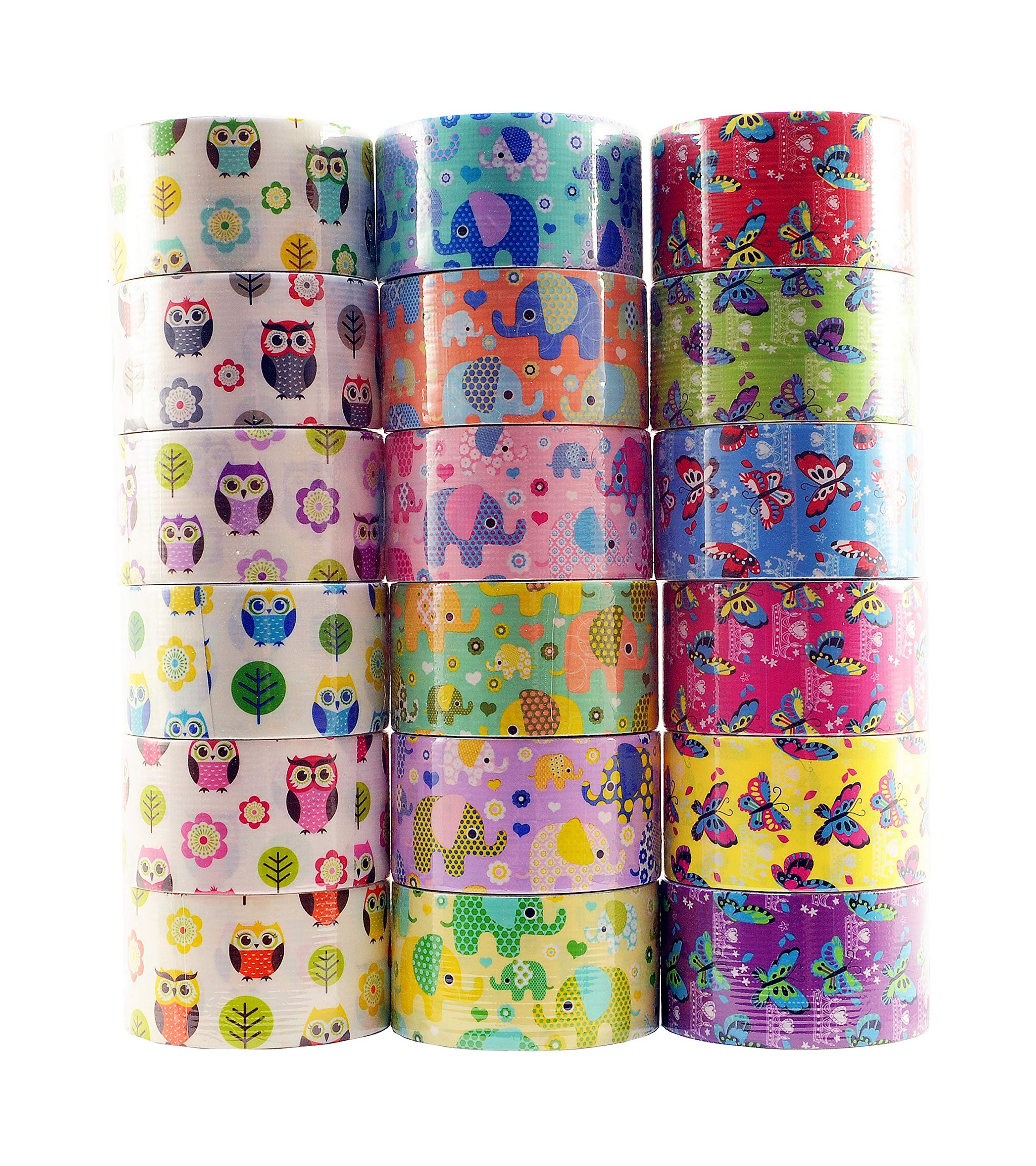 18 Roll Variety Pack of Decorative Duct Style Tape, Each Roll 1.88 Inch x 5 Yards, Ideal for Scrapbooking - Decorating - Signage (6 Elephant + 6 Owl + 6 Butterfly)