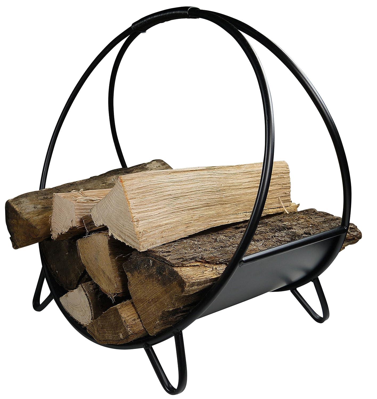 khevga Chimenea de madera cesta Metal Negro Moderno Redondo ...