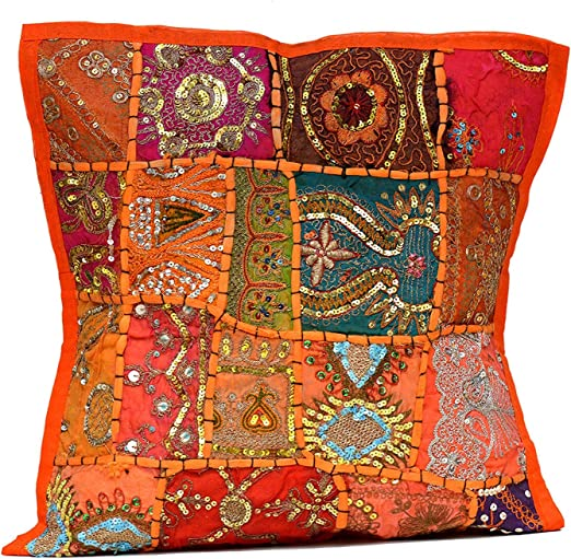 """Indian Heavy Embroidery Patchwork Bead Work Decorative Square Cushion Cover 16/"""""""