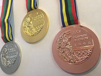 93f46da254ce0 Amazon.com   1992 Barcelona SPAIN Olympic Souvenir SET GOLD SILVE ...
