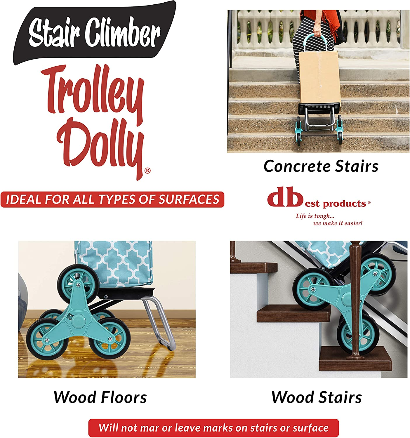 dbest products Stair Climber Trolley Dolly Morrocan Tile Shopping Grocery Foldable Cart Condo Apartment