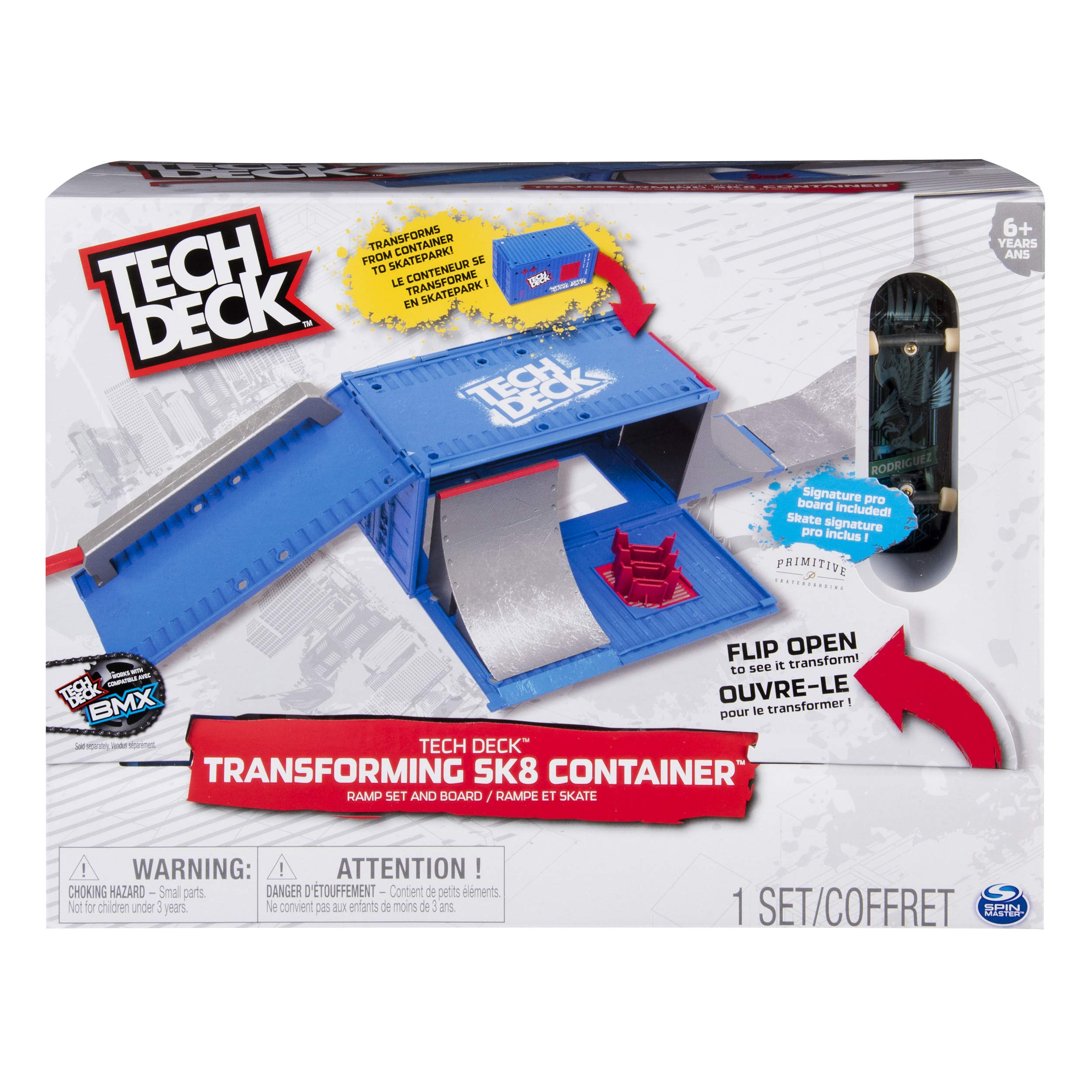 Tech Deck Transforming SK8 Container Pro Modular Skatepark and Board, for Ages 6 and Up (Edition May Vary)