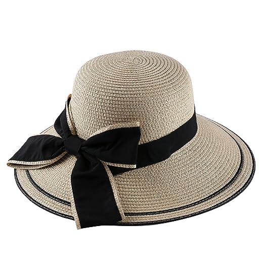 Women Wide Stripped Brim Foldable Sun Straw Hat Floppy Vacation Bucket Cap  Beige 0fae321d31c
