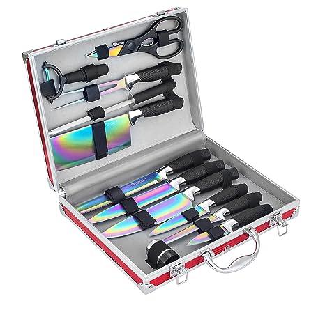 Pradel Excellence I7202TI - Juego de 12 Cuchillos, con Revestimiento de Titanio, 35,5 x 28,5 x 8,3 cm, Incluye maletín