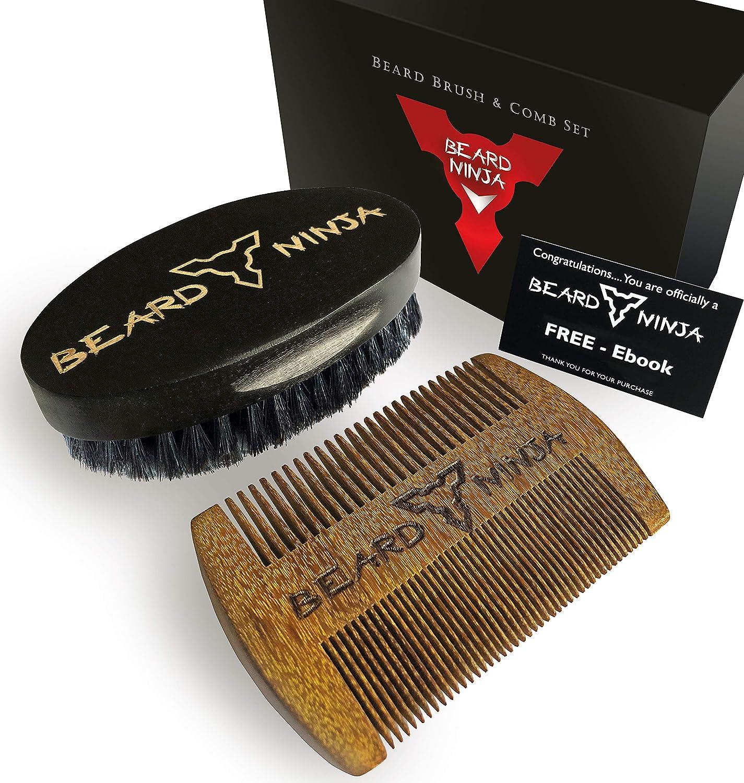 Beard NINJA - Juego de brochas para barba y peine para ...