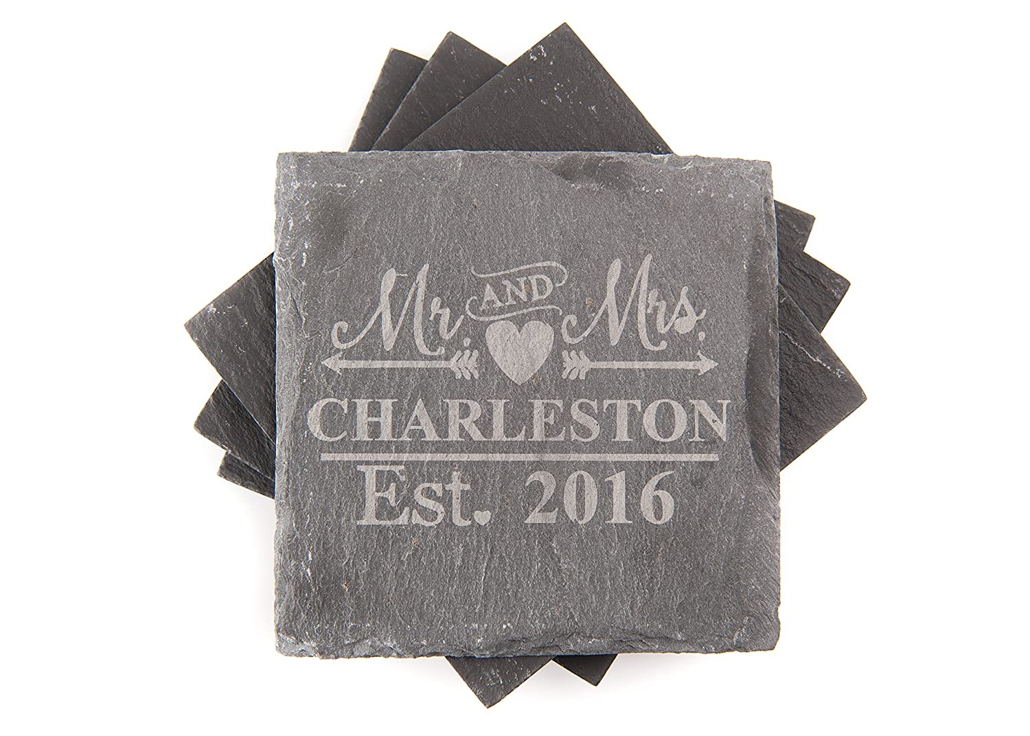 Personalised Mr /& Mrs Slate Coasters Engraved Wedding Gift Anniversary New Home