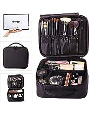 ROWNYEON Travel Makeup Bag Cosmetic Case Cosmetic Bag Organizer Professional Makeup Train Case Makeup Artist Bag Portable Storage Bag Gift for Girls Women 9.8'' Mini Black
