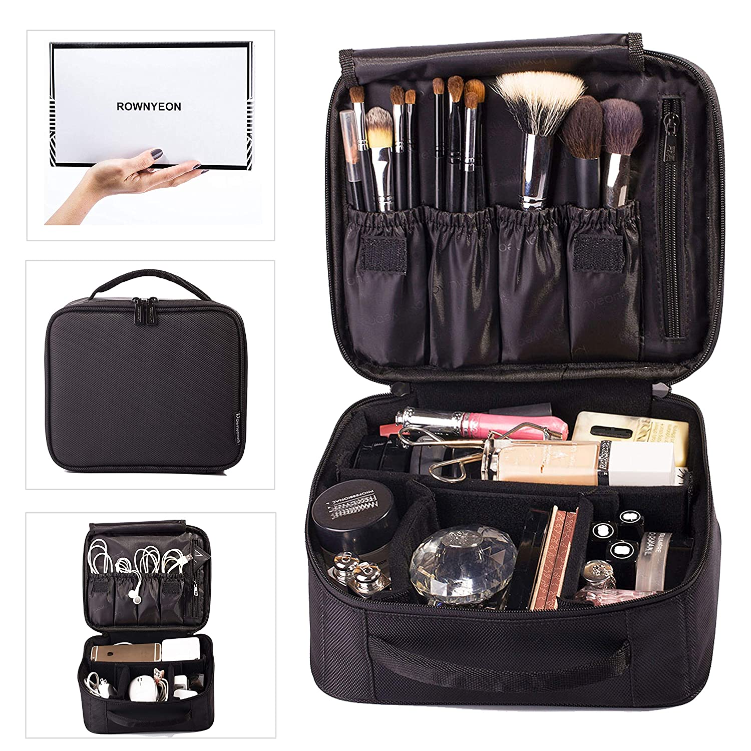ROWNYEON Makeup Train Case Makeup Bag Organizer Travel Makeup Case Cosmetic Bag Proffessional Portable Storage Bag for Cosmetics Makeup Brushes Gift for Girls Women 9.8 Mini Black