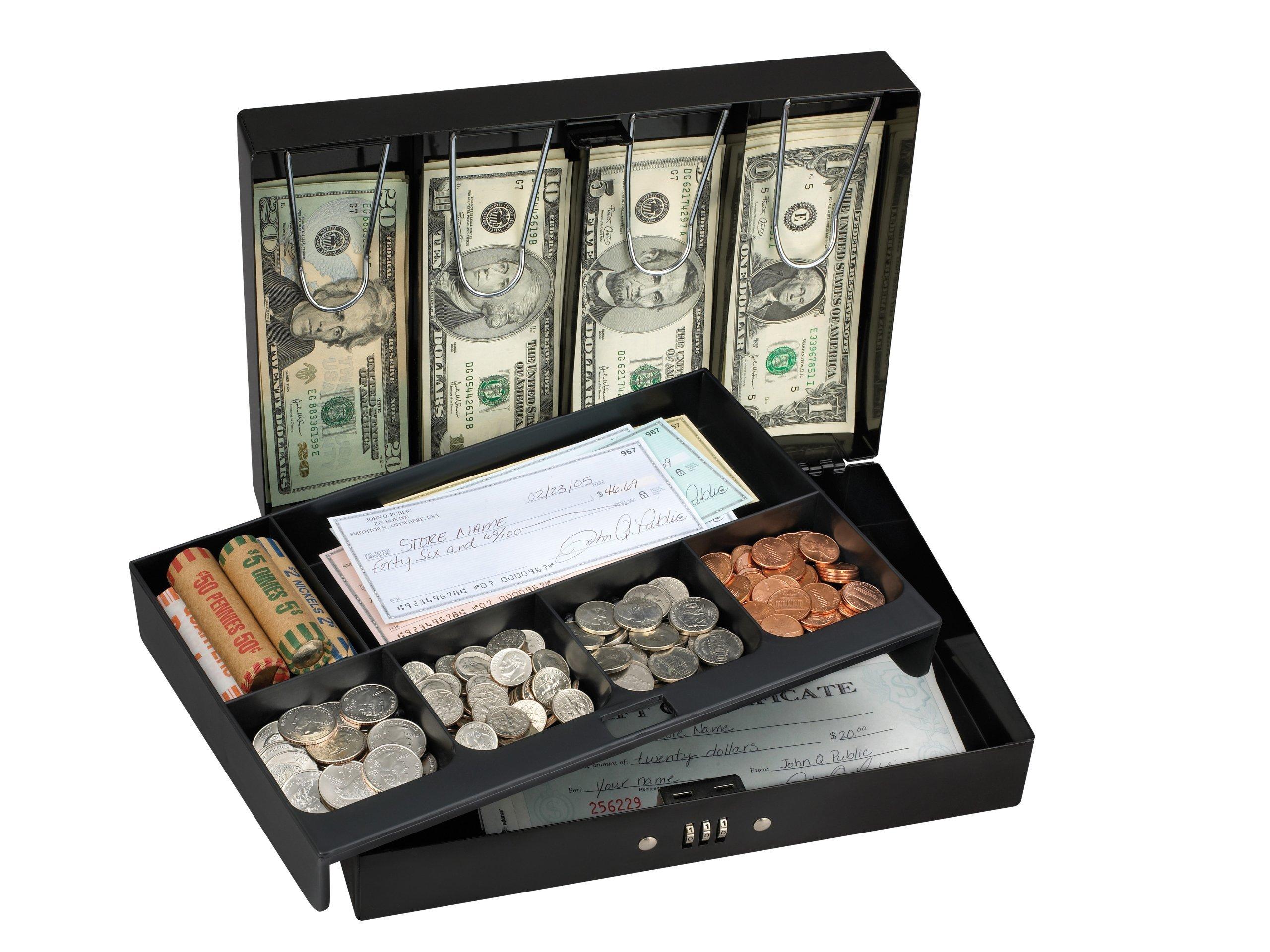 Master Lock Cash Box, Deluxe Locking Cash Box With Money Tray, Medium, 7174D