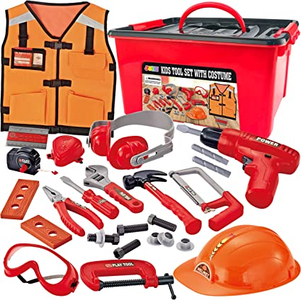 Safety Helmet JOYIN Kids Tool Set with Electronic Cordless Drill and 48 Pieces Pretend Construction Toys with Bonus Storage Box