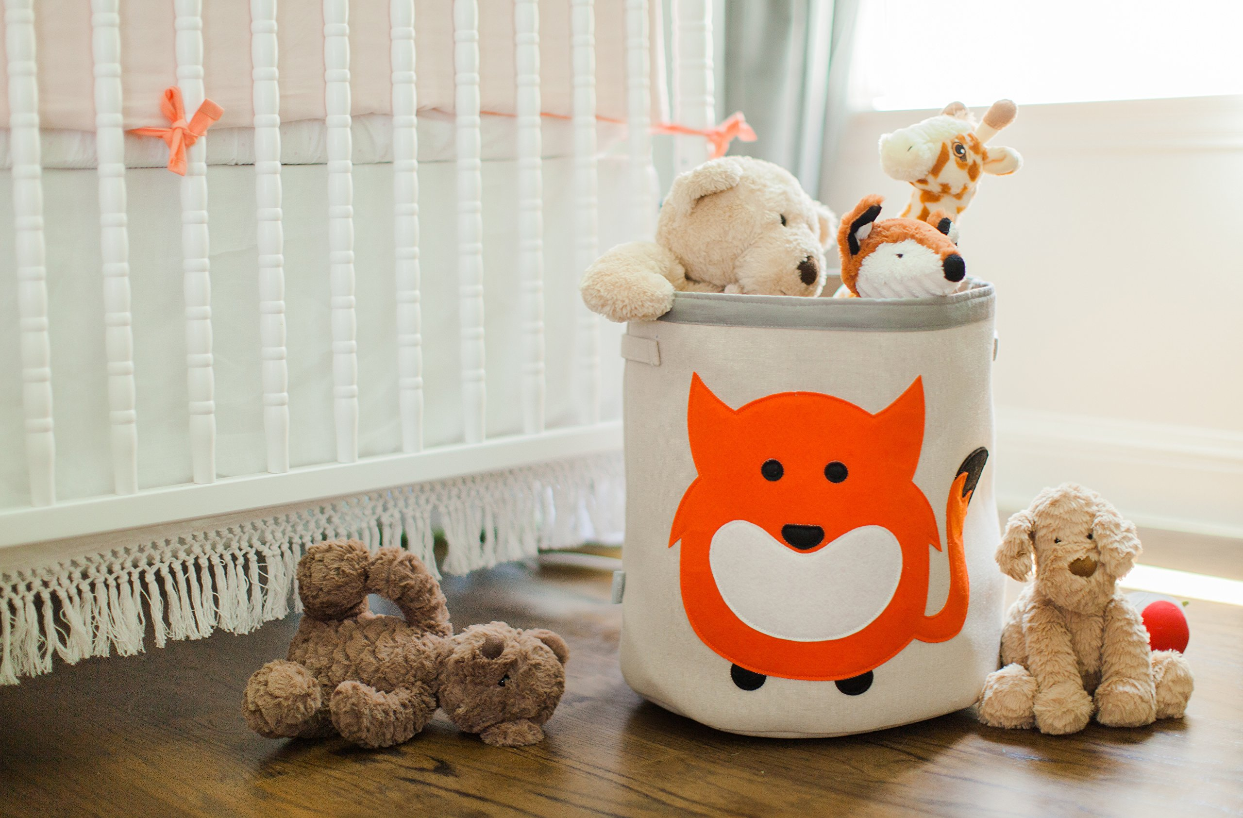 Grey Bee Animal Theme Collapsible Canvas Storage Bin for Kids, Red - Fox by Grey Bee (Image #3)