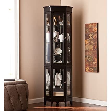 Amazon Com Lighted Corner Curio Display Cabinet Includes 4