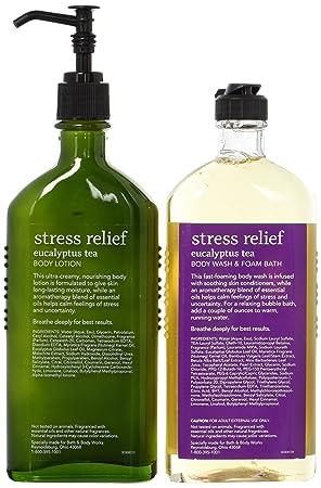 Bath Body Works Aromatherapy Stress Relief Eucalyptus Tea 1 Body Lotion 6.5 Oz. 1 Body Wash Foam Bath 10 oz. Packaging may vary