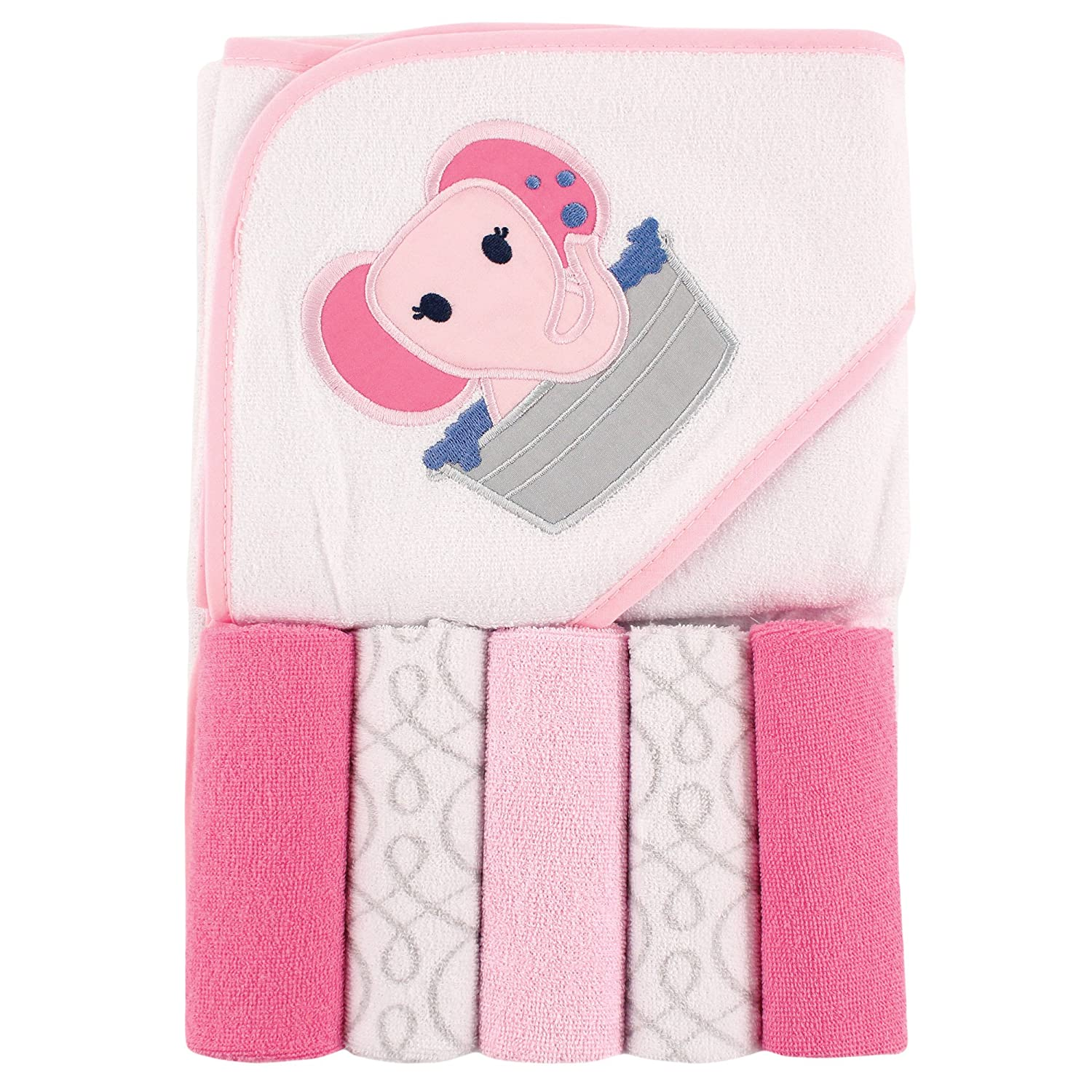 Luvable Friends Hooded Towel and 5 Washcloths, Duck 05248_Duck