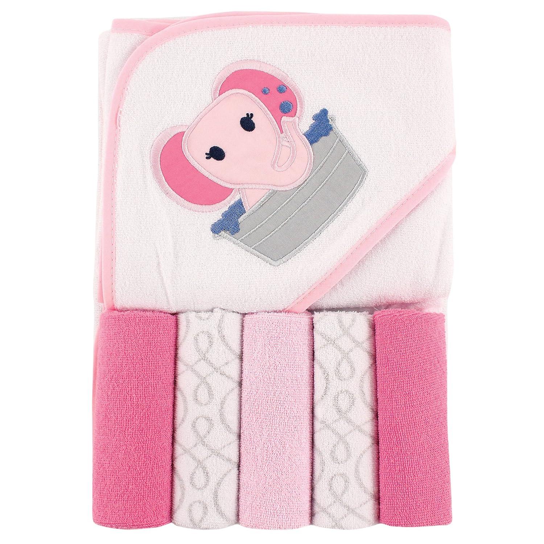 Luvable Friends Hooded Towel and 5 Washcloths, Girl Fox 05257_GirlFox