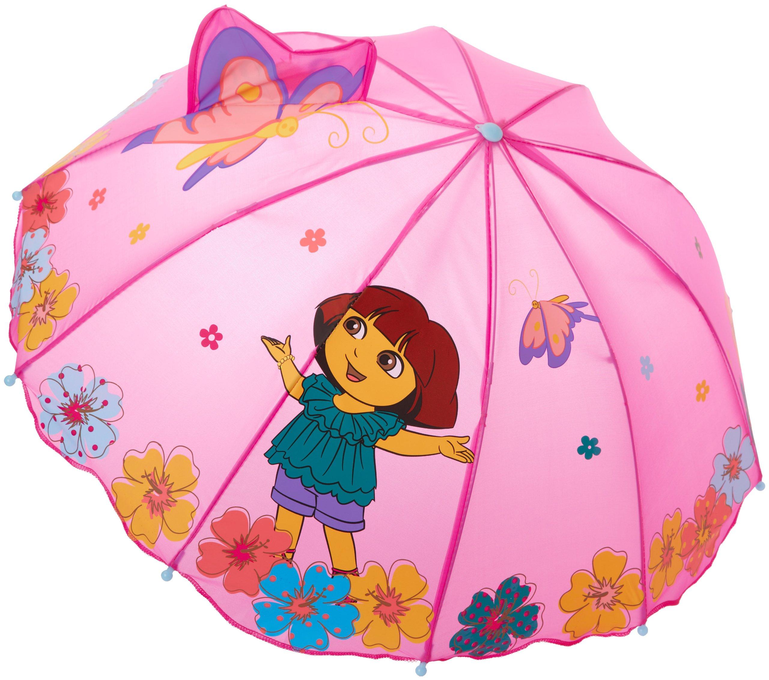 Kidorable Purple Dora the Explorer Umbrella for Girls w/Fun Flower Handle, Pop-Up Butterfly, 1 Size