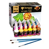 3D Puffy Fabric Paint - 24 Set of Highly Pigmented vibrant colors for Fabrics, Wood, Canvas, Glass, Metal, Wood, Posters, Backpacks, FREE 3 Brushes, For Professionals and Beginners By Diamond Driven