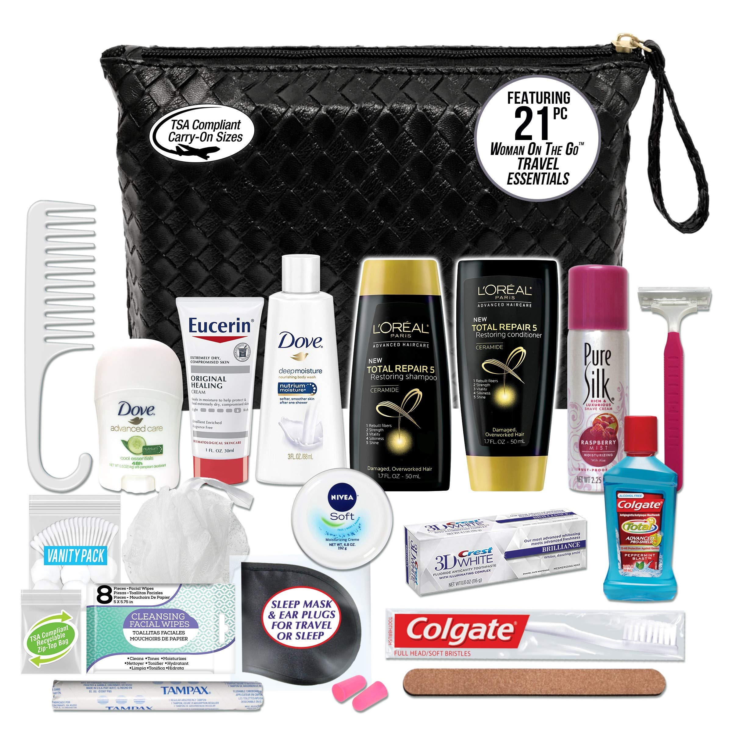 Convenience Kits International Women's Premium 21-Piece Kit with Travel Size TSA Compliant Essentials, Featuring: L'Oreal Paris Hair Products in Stylish Cosmetic Bag