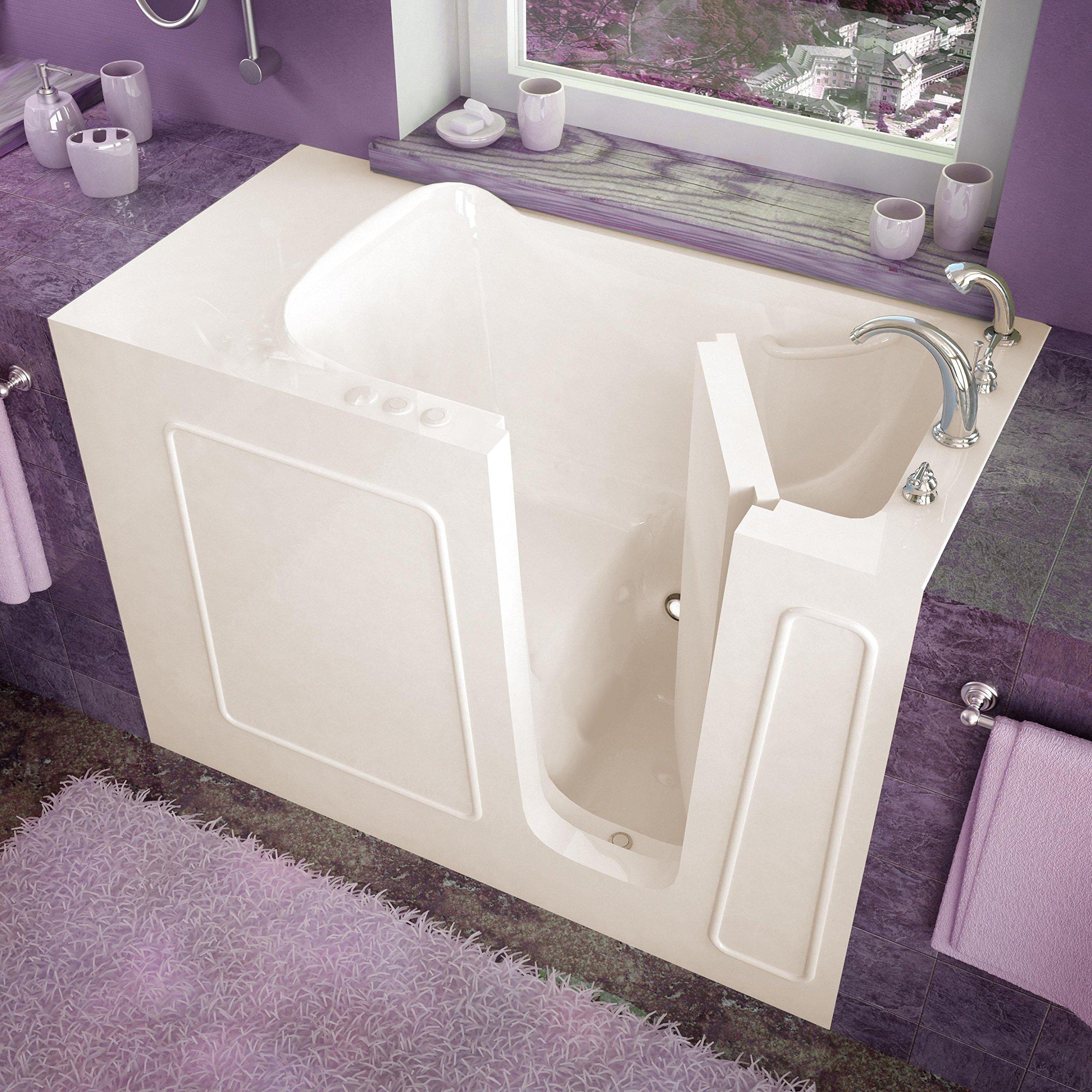 Spa World Venzi Vz2653rbs Rectangular Soaking Walk-In Bathtub, 26x53, Right Drain, Biscuit