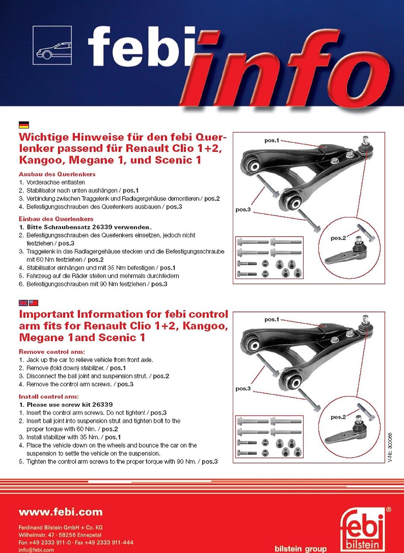 Febi-Bilstein 26339 Kit dassemblage bras de liaison