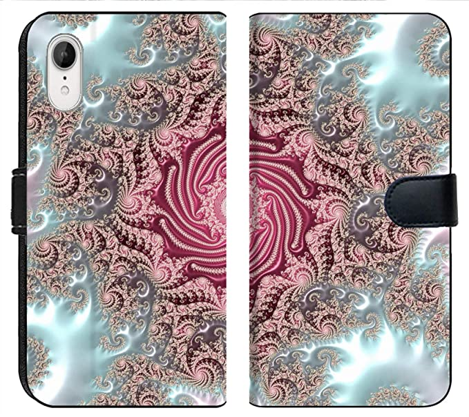 Apple iPhone XR Flip Fabric Wallet Case Image of Background Abstract Illustration Wallpaper Fractal Graphic Design