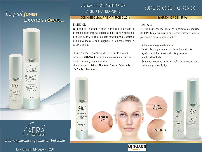 Amazon.com : Crema Colageno con Acido Hialuronico- Rejuvencedor de Cara, Cuello y Manos - Para Todo Tipo de Piel - 50ml/ 1.69 oz. : Beauty