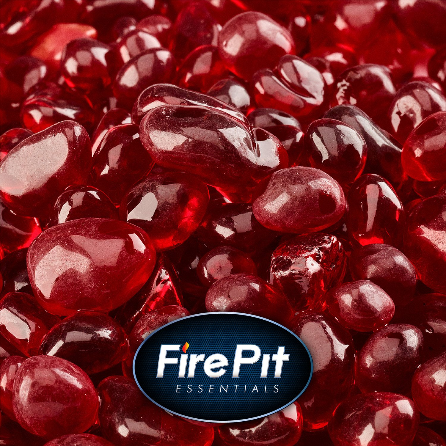 Red Fire Glass for Indoor and Outdoor Fire Pits or Fireplaces | 10 Pounds | Marlboro Red, Fire Glass Dots, 3/8 Inch