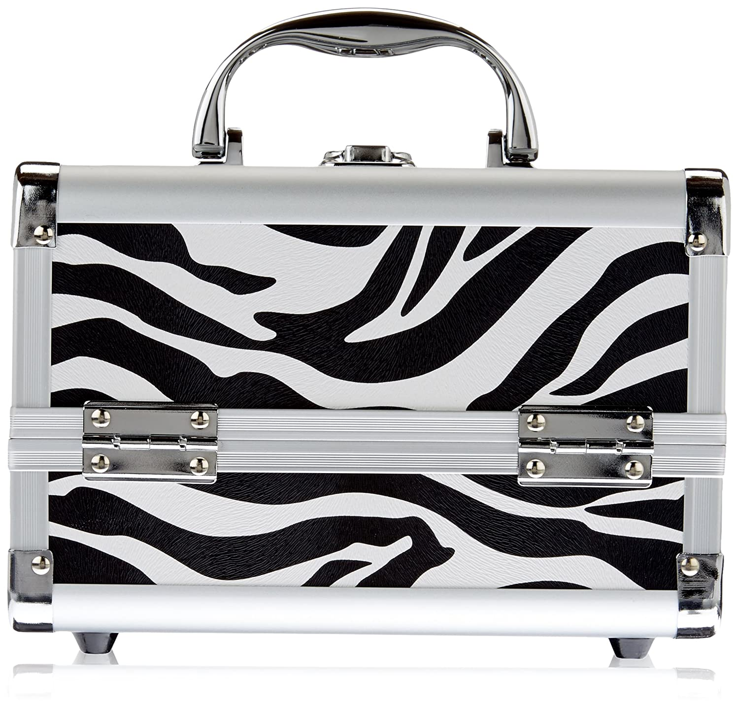 Just Case Mini Makeup Cosmetic Train Case Organizer Storage Easy Clean with 2-Tray and Mirror, Zebra, 1-Count M1001ZBWH