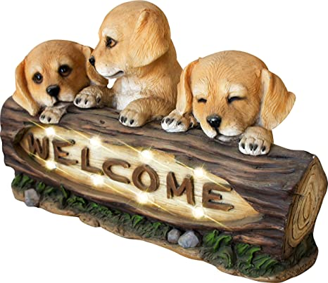 LA JOLIE MUSE Welcome Garden Statue With Solar Powered LED Lights, 15 Inch  Puppy Dog