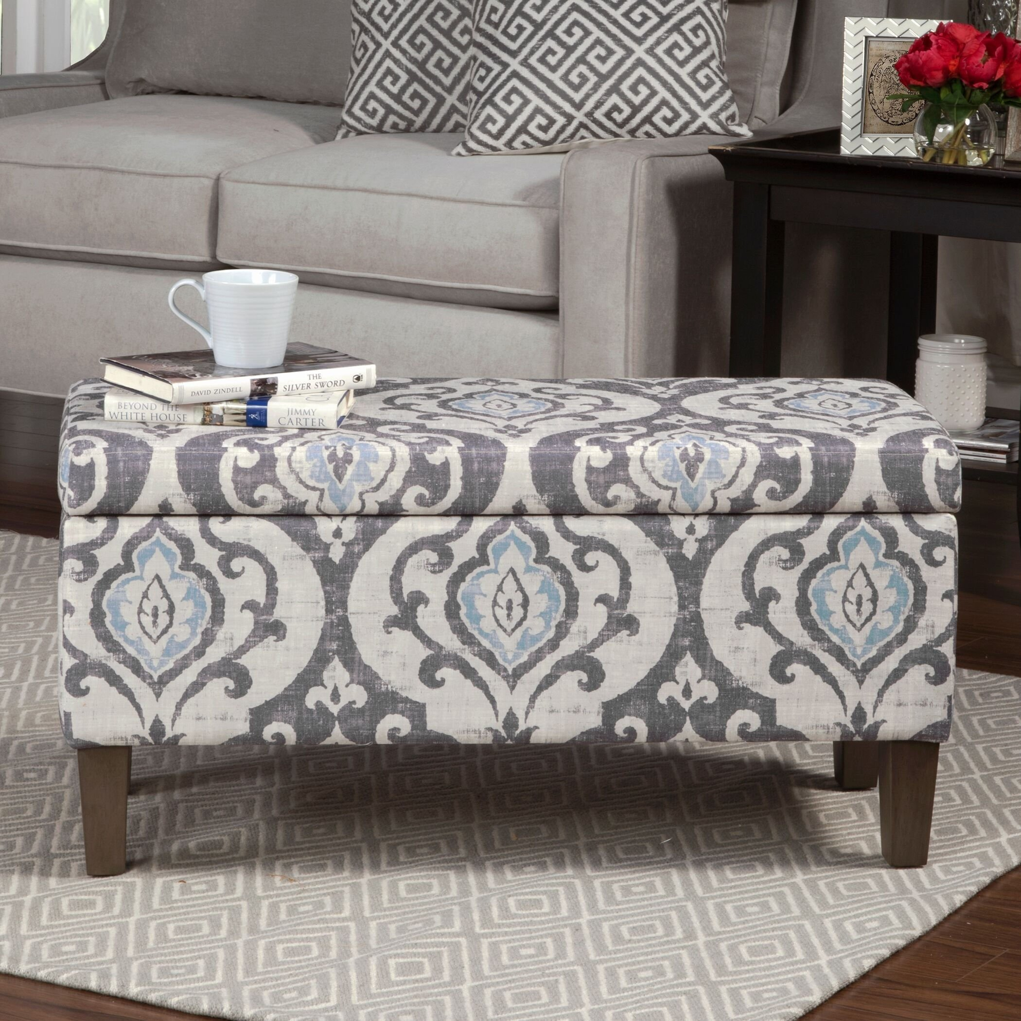 Modern Style Blue Slate Large Accent Round Shaped Vintage Storage Ottoman Bench | Wooden Legs, Gray Floral Design | Foam Seat, Living Room Decor - Includes ModHaus Living Pen