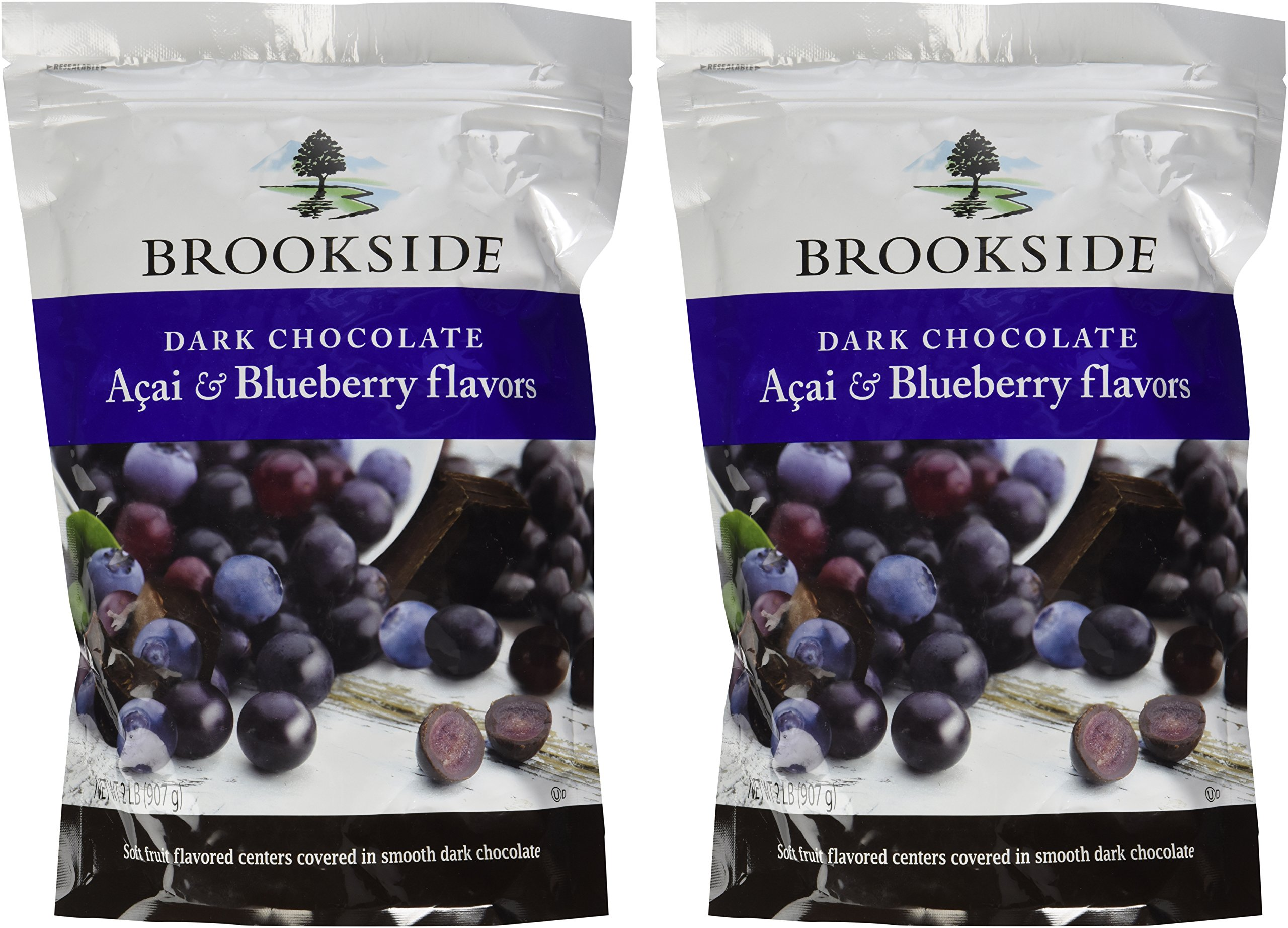 Brookside Dark Chocolate Acai with Blueberry 2 Pounds Resealable Bag (Pack of 2) by Brookside