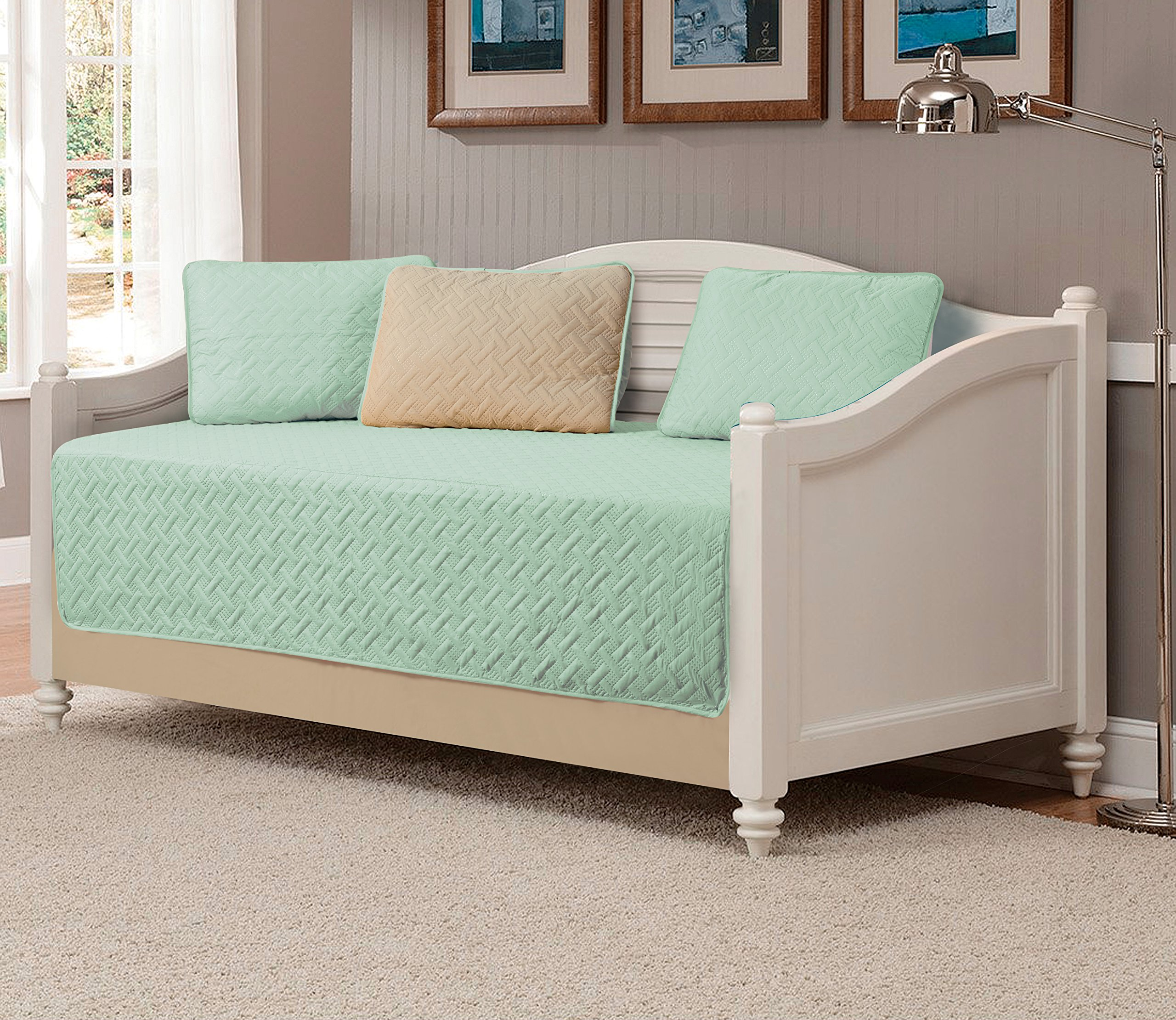 Mk Collection 5pc Modern Bedspread DayBed Solid Embossed Sage/khaki ''Beige'' New