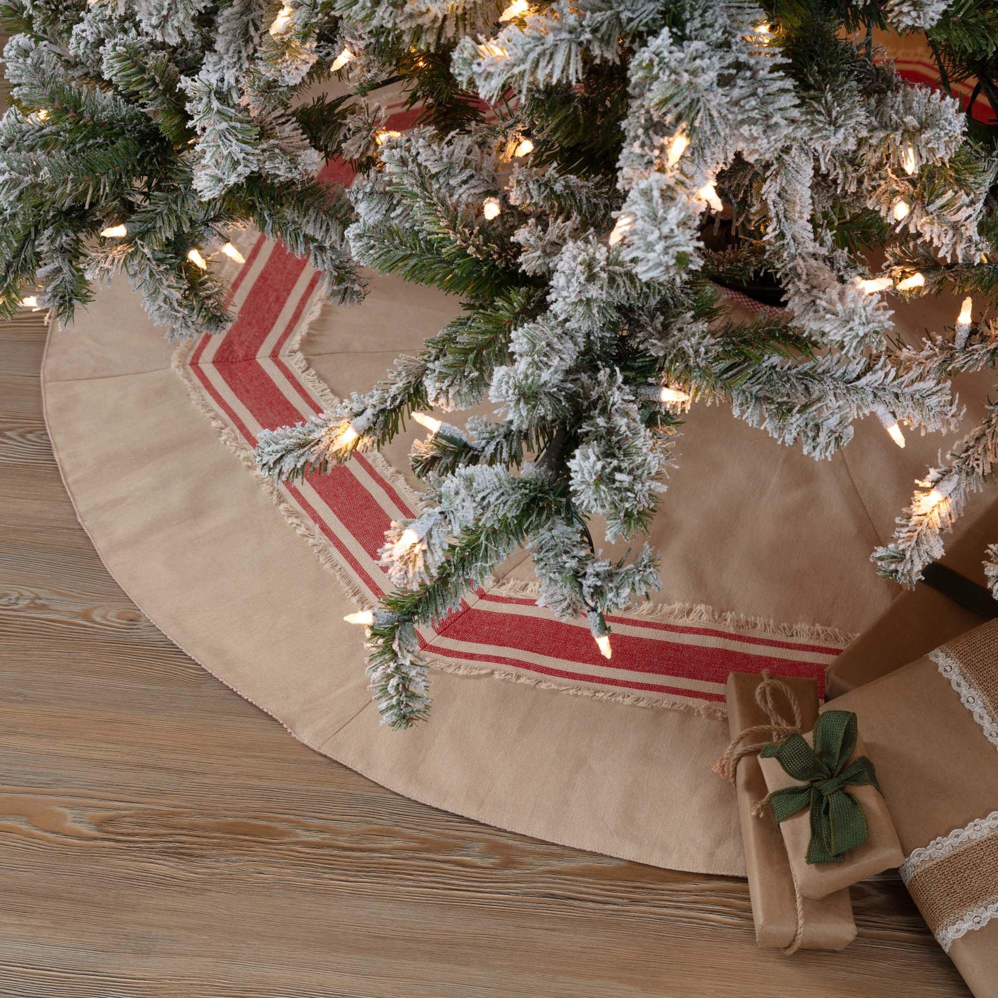 Piper Classics Farmhouse Red Stripe Tree Skirt, 48'' Diameter, Country Farmhouse Christmas and Holiday Seasonal Decor