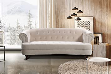 Container Furniture Direct S5404-S Vivian Holder Modern Velvet Upholstered Nailhead Trim Chesterfield Living Room Sofa, 81.89