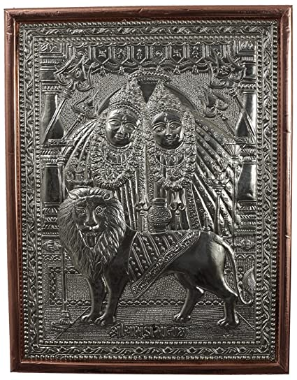 Kapasi Handicrafts Embossed on Wood German Silver Copper Chamunda Maa Photo  Frame Poster (10 L x 13 H Inches)